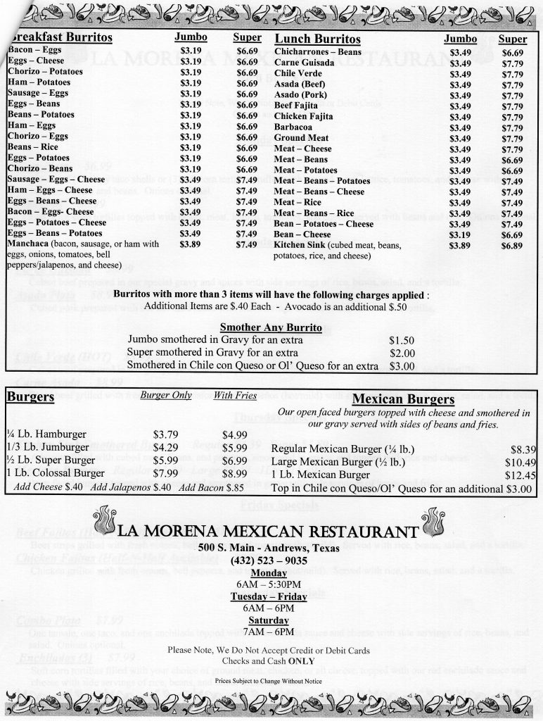 La Morena Restaurant Menu – Andrews | Odessa Menus